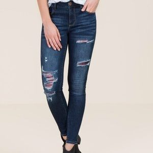 Harper Jeans with Plaid Patches